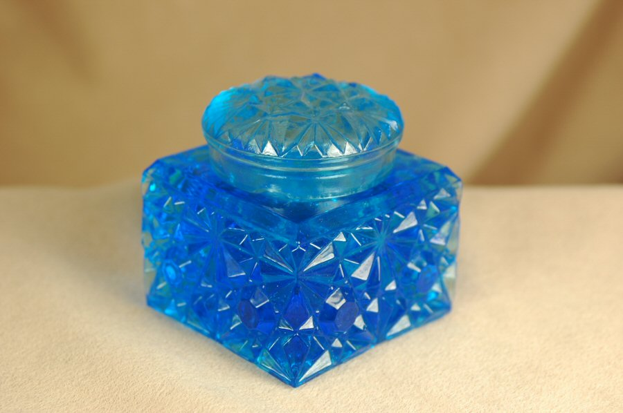 Inkwells and Blotters: IB0001: Blue Glass: Inkwell