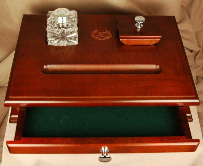 Inkwells and Blotters: IB0016: Laban: Desk Set w/ Drawer