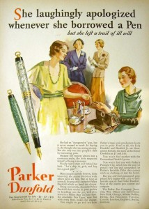 Despite the beautiful watercolor painting and classic 1930s fashion, this vintage pen ad is loaded with sexism that seems sure to guarantee the Lady Duofold never sold.