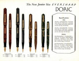 Here is the page from the 1932 Everharp catalog that shows the very Doric Junior model we carry. Notice how this rep's catalog is color but most of the pen ads are black and white. With such beautiful pens, why weren't all their ads color?