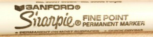The Sharpie marker can write on most any surface with a permanent ink. This older Sharpie still shows the Sanford coporate logo.