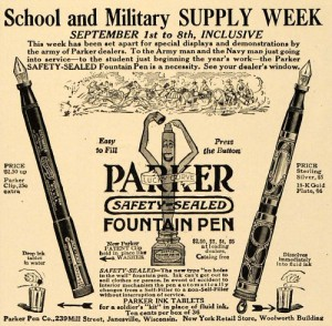 Enlist the safety-sealed button filling Parker pens for your needs at school or while fighting in the trenches in this classic WWI Parker ad.