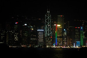 This is the night view of the colorful lights on Hong Kong Island as seen from the deck of the Star Ferry in Victoria Harbour.