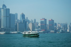 While riding in one Star Ferry boat, we passed another in Hong Kong's Victoria Harbour.