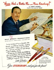 Walt Disney famously became a spokesperson for Wahl-Eversharp and its line of Skyline pens. The way Disney discusses the responsiveness of the nib, we figure he must have been given one of the famous and rare flex nibs Eversharp made.