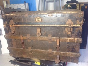 This is the vintage steamer trunk that Cheryl is restoring. Pretty cool, huh?
