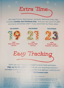 Last-minute shoppers are running out of time to get those orders arriving before Christmas, as this USPS poster indicates.