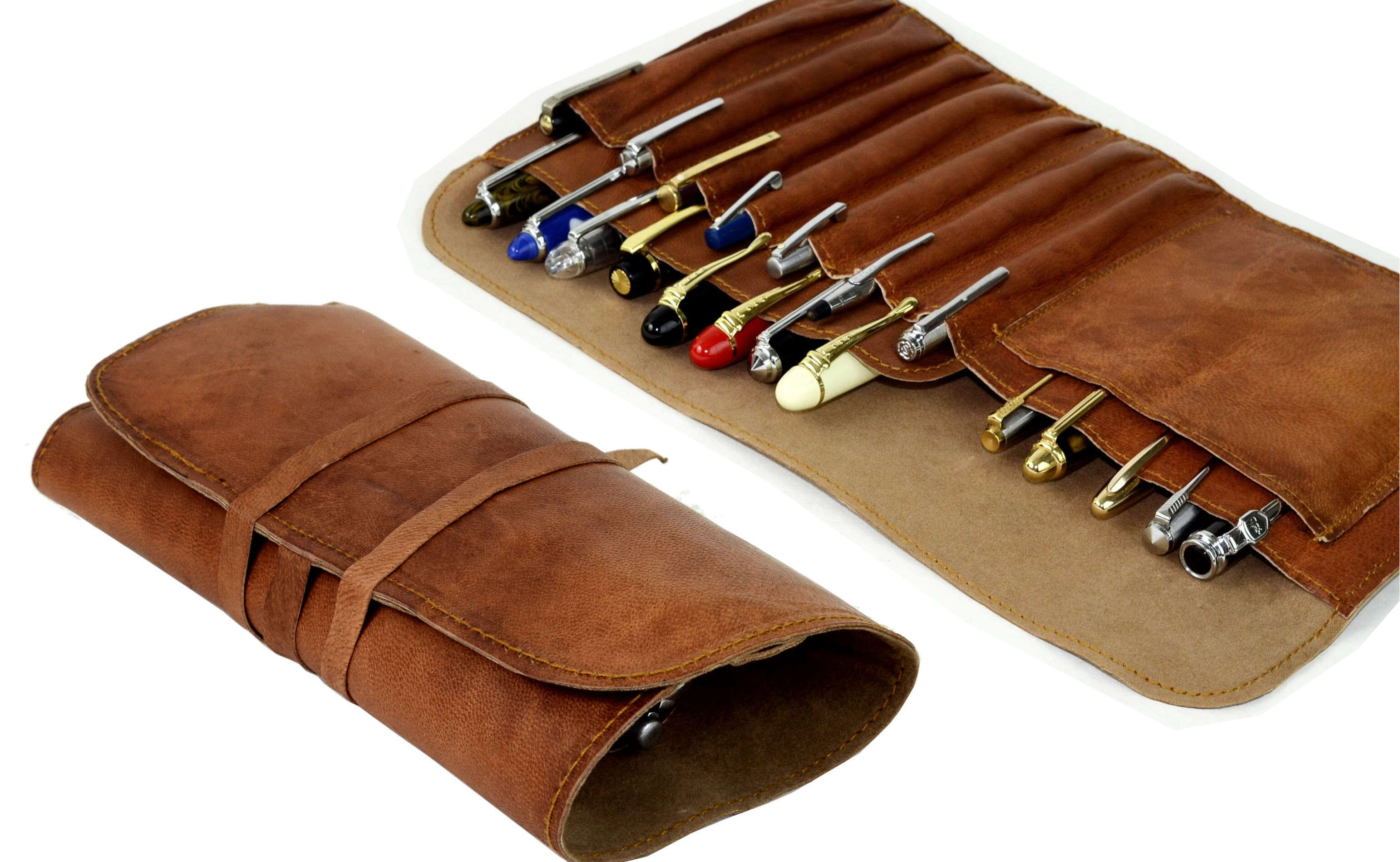 Vintage Pens: : Genuine Leather pen rollup case: Leather Pen rollups