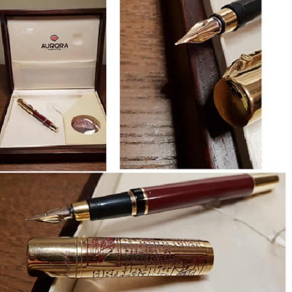 Pens and Pencils: : Aurora: Leonardo Da Vinci Limited Vermeil Cap Fountain Pen