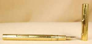 This is the closest vintage pen we currently stock that looks like Streep's pen. It is a lever-filler by Hutcheon.
