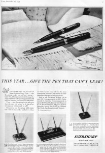Here's an Eversharp Doric ad featured in Time Magazine back in 1935. Despite the cool adjustable nib, wouldn't you agree the color version would have helped sell many more pens?