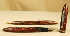 """Roseglow"" is the name of this pink and purple-looking Sheaffer Junior. It is an ideal Valentine's Day accessory."