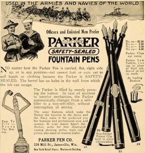 Sealed button-filling pens and take-anywhere ink tablets were revolutionary new creations for sailors and doughboys hoping to write home during the first world war.