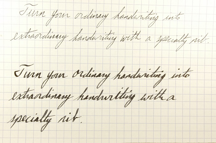 See the difference a 1.5mm Lamy nib can make for your handwriting. Not only do the letters take on more distinctive shapes, the ink, itself, provides shadows and highlights on every letter. It is far more interesting than a boring old fine-point nib.