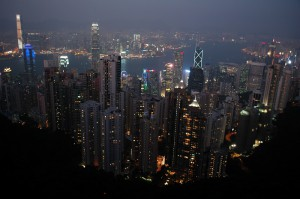 Here is the view of Hong Kong from Victoria Peak, after the lights have come on at night. This is on Hong Kong Island looking over Victoria Harbour and Kowloon, the mainland part of Hong Kong.