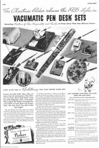 Check out these great desk sets Parker was offering in 1936. Imagine stumbling on a pen shop back in the day with those looking minty fresh.